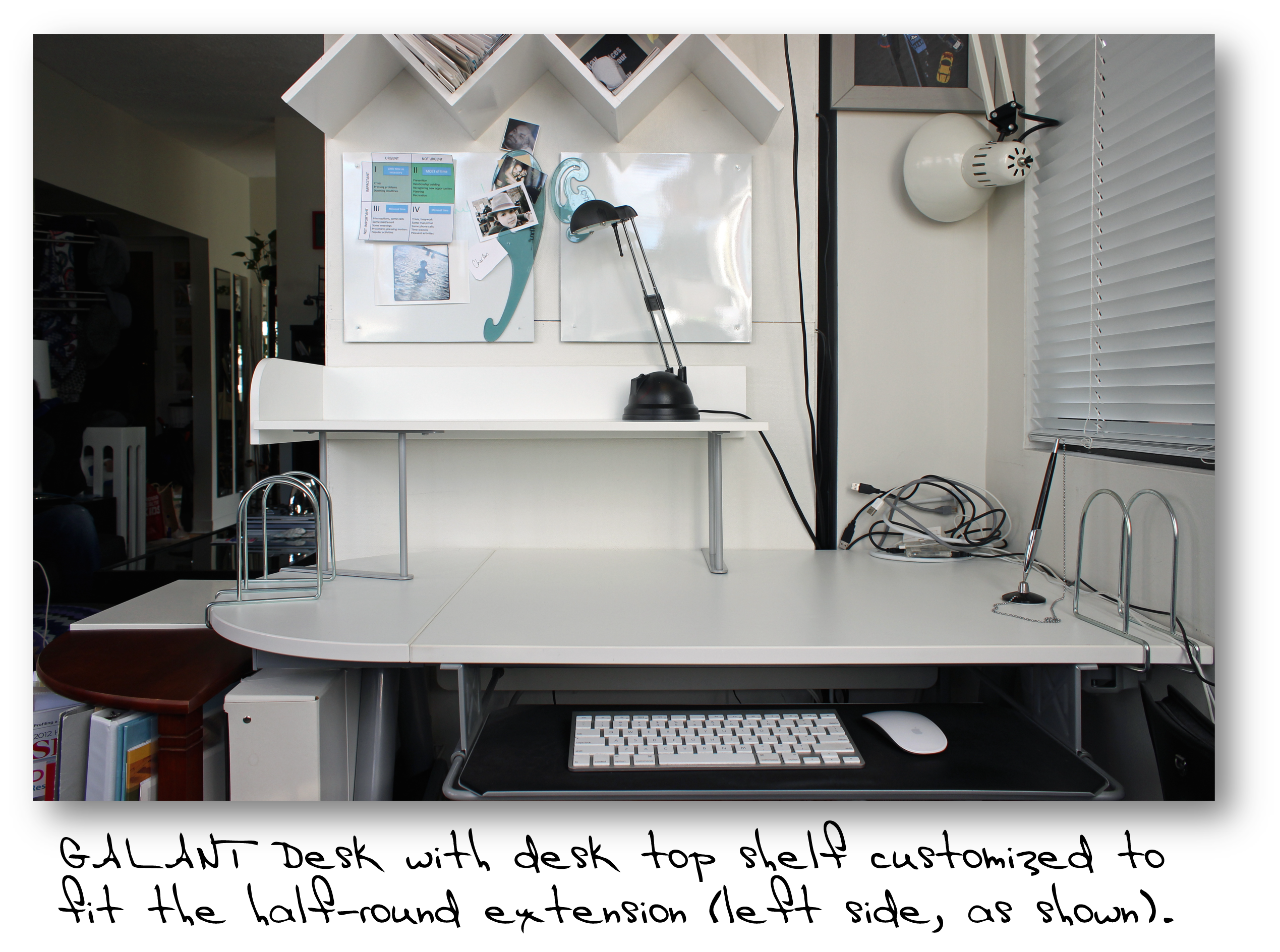 The Desktop Shelf Was Slightly Customized By Moving One Of Its Supports To A New Position In Order Clamp It Onto Half Round Top Extension Which