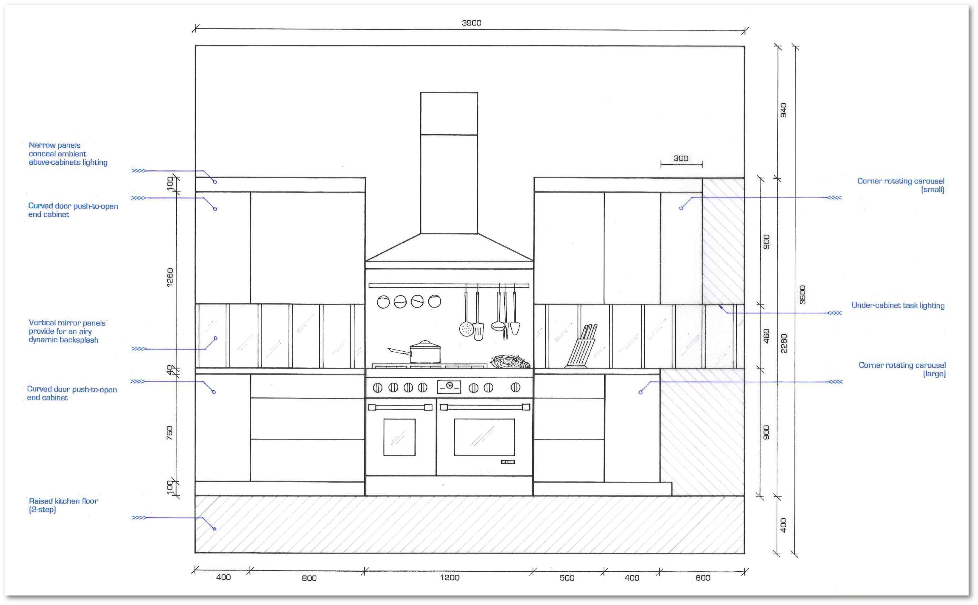 Kitchen Plan Elevation View : Loft apartment kitchen elevations section